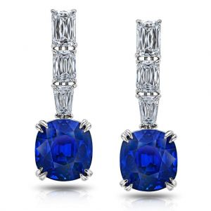 Blue Cushion Sapphire and 2.45 Carat Diamond Drop Earrings