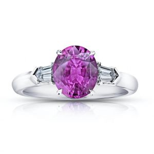 2.19 Carat Oval Pink Sapphire and Diamond Ring
