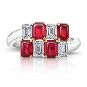 Emerald Cut Red Ruby and Diamond Crossover Ring