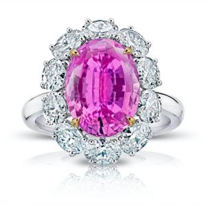5.97 Carat Oval Pink Sapphire and Diamond Ring