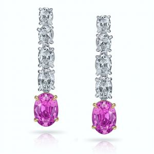 1.73 Carat Oval Pink Sapphire and Diamond Earrings