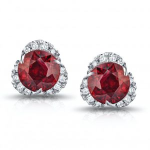 2.92 Carat Round Ruby and Diamond Halo Platinum Earrings