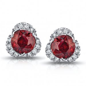 2.46 Carat Round Ruby and Diamond Halo Platinum Earrings