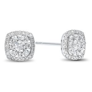 14K White Gold Illusion Set Diamond Stud Earrings With Halo